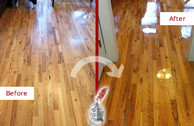 Before and After Picture of a Tennent Wood Sand Free Refinishing Service on a Worn Out Hallway