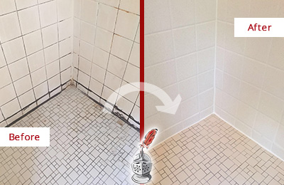 Before and After Picture of a Shower with Damaged Caulking on the Joints