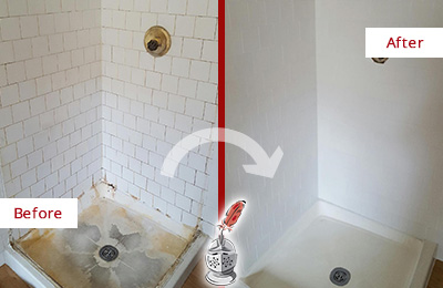 Before and After Picture of a Shower with Soap Scum and Mineral Deposits on Tiles and Grout