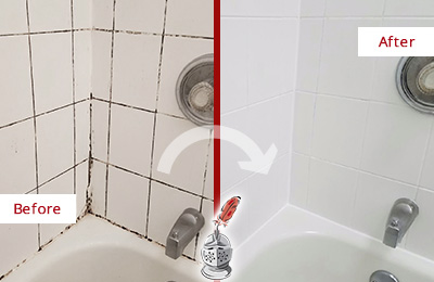 Before and After Picture of a Bridgeton Shower Tile and Grout Cleaned to Eliminate Mold