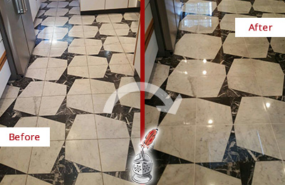 Before and After Picture of a Dull Allenwood Marble Stone Floor Polished To Recover Its Luster