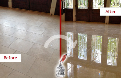 Before and After Picture of a Dull Cape May Travertine Stone Floor Polished to Recover Its Gloss