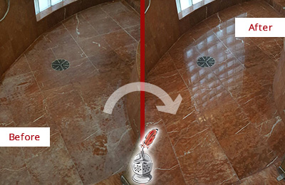 Before and After Picture of a Leonardo Marble Stone Shower Polished to Eliminate Mineral Deposits