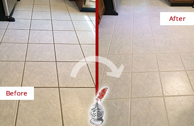 Before and After Picture of a Cherry Hill Kitchen Ceramic Floor Sealed to Protect From Dirt and Spills