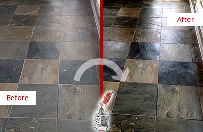Before and After Picture of a Dull Cherry Hill Slate Floor Sealed to Bring Back Its Colors