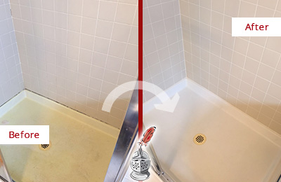 Before and After Picture of a Atlantic City Shower Sealed to Remove and Protect Against Mold