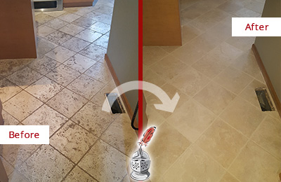 Before and After Picture of a Wildwood Kitchen Marble Floor Cleaned to Remove Embedded Dirt