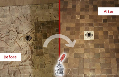 Before and After Picture of a Stained Wildwood Marble Shower Floor Cleaned to Remove Etching