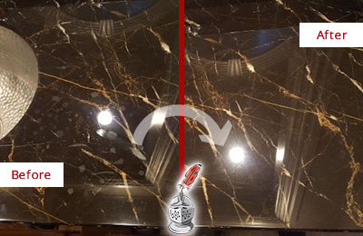 Before and After Picture of a Wildwood Marble Countertop Cleaned to Remove Water Spots