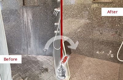 Before and After Picture of a Bridgeton Granite Shower Stone Sealed to Avoid Mineral Deposits