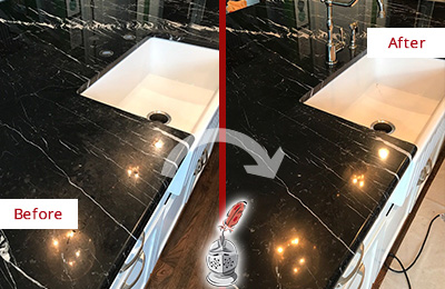Before and After Picture of a Mullica Marble Kitchen Countertop Stone Sealed to Avoid Water Damage