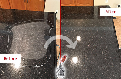 Before and After Picture of a Wildwood Granite Kitchen Countertop Honed to Eliminate Scratch