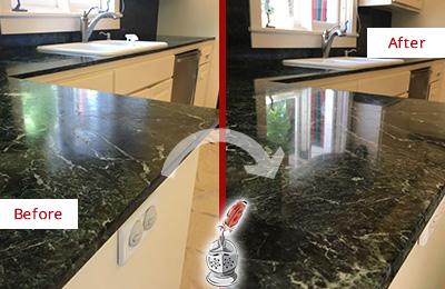Before and After Picture of a Wildwood Marble Kitchen Countertop Honed to Remove Water Marks