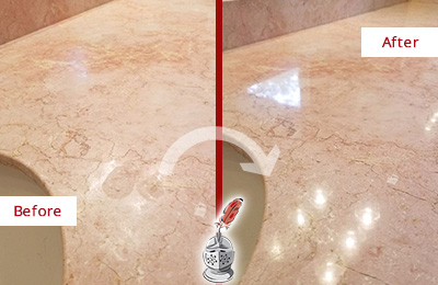 Before and After Picture of a Wildwood Marble Vanity Top Honed to Eliminate Water Spots