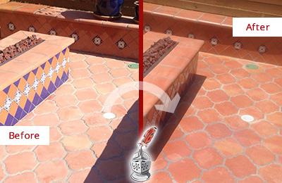 Before and After Picture of a Clayton Hard Surface Restoration Service on a Dull Terracotta Patio Floor to Recover Its Color