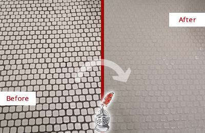 Before and After Picture of a Neptune Hard Surface Restoration Service on a Bathroom Tile Floor Recolored to Fix Grout Color