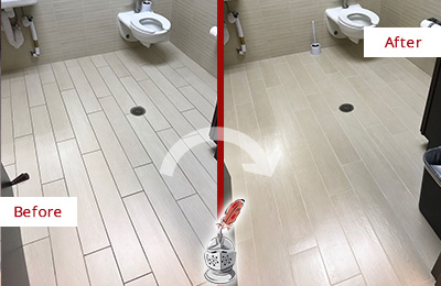Before and After Picture of a Hightstown Office Restroom's Grout Cleaned to Remove Dirt