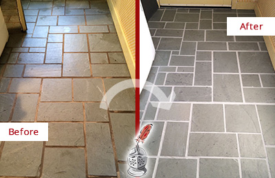 Before and After Picture of Damaged Camden Slate Floor with Sealed Grout