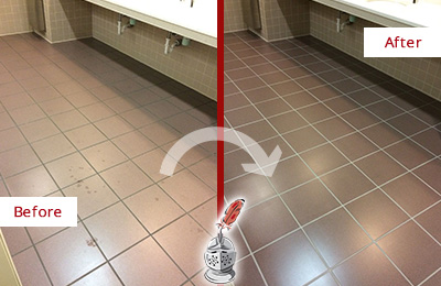 Before and After Picture of Dirty Camden Office Restroom with Sealed Grout