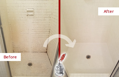 Before and After Picture of a Camden Bathroom Grout Sealed to Remove Mold