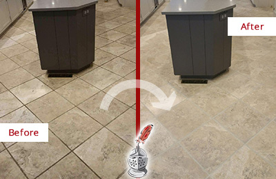 Before and After Picture of a Spring Lake Kitchen Floor Grout Sealed to Remove Stains